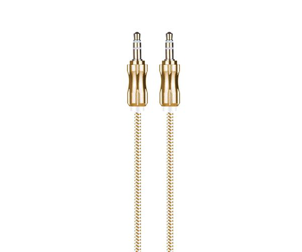 CABLE JACK AU108 METALICO 3.5MM M-M NYLON 1M ORO