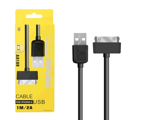 CABLE DATOS IPHONE 4-4S ALTA CALIDAD 1M AA109 NEGRO ONE+