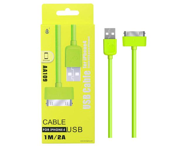 Cable datos iPhone 4-4s alta calidad 1m aa109 Verde ONE+