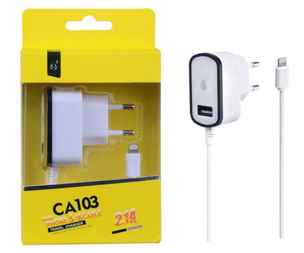 CARGADOR RED CA103 IPHONE 5-6 + TOMA USB EXTRA 2.1A NEGRO ONE+ && SMARTPHONES