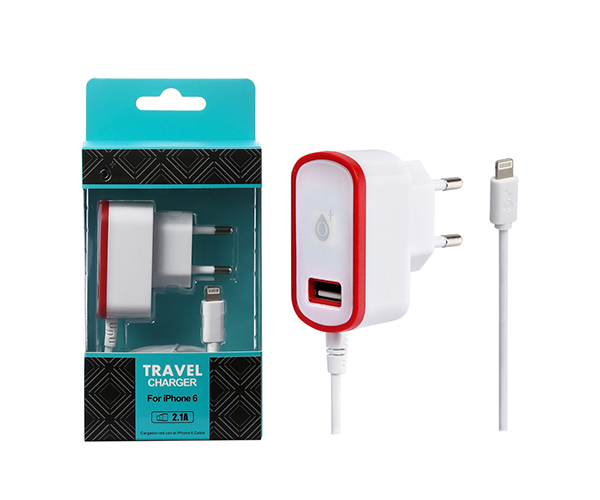 CARGADOR RED CA103 IPHONE 5-6 + TOMA USB EXTRA 2.1A ROJO ONE+ && SMARTPHONES