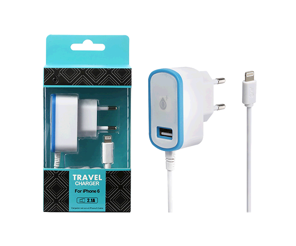 CARGADOR RED CA103 IPHONE 5-6 + TOMA USB EXTRA 2.1A AZUL ONE+ && SMARTPHONES