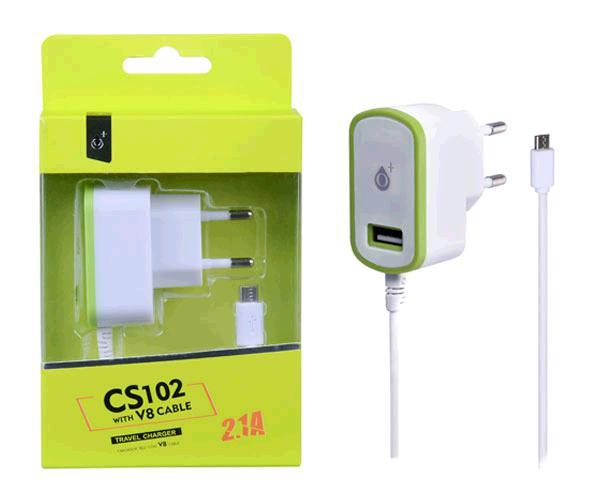 Cargador red cs102 Micro USB + toma USB 2.1a verde ONE+