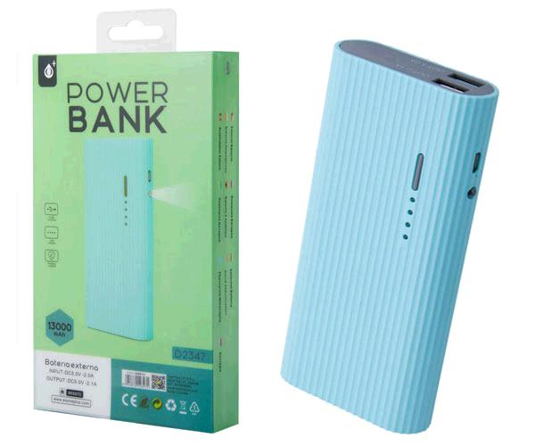 POWER BANK VALEN D2347 13000MAH 2XUSB 2.4A - LINTERNA - CELESTE ONE+