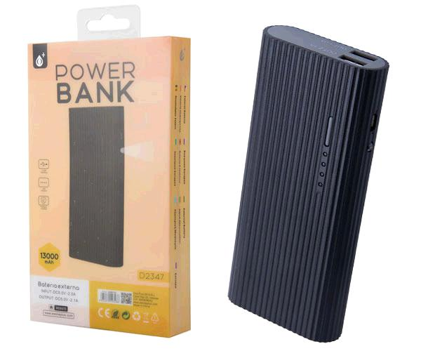POWER BANK VALEN D2347 13000MAH 2XUSB 2.4A - LINTERNA - NEGRO ONE+