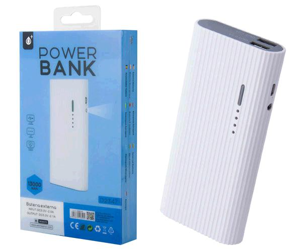 POWER BANK VALEN D2347 13000MAH 2XUSB 2.4A - LINTERNA - BLANCO ONE+