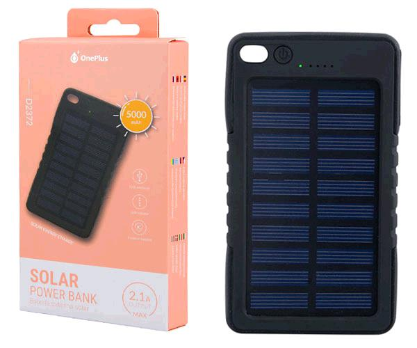 POWER BANK SOLAR 5000MAH INDICADOR LED 2.1A  D2372 NEGRO ONE+