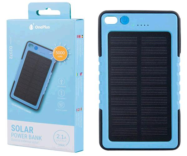 POWER BANK SOLAR 5000MAH INDICADOR LED 2.1A  D2372 AZUL ONE+