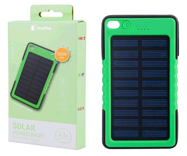 POWER BANK SOLAR 5000MAH INDICADOR LED 2.1A  D2372 VERDE ONE+