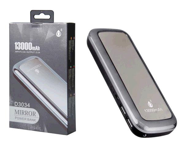 POWER BANK MIRROR D3034 13000MAH 2XUSB - 2A - LINTERNA - PLATA ONE+