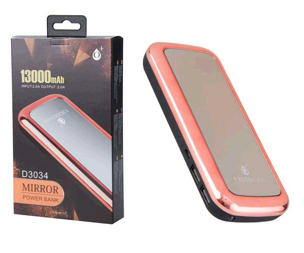 POWER BANK MIRROR D3034 13000MAH 2XUSB - 2A - LINTERNA - ROSA ONE+