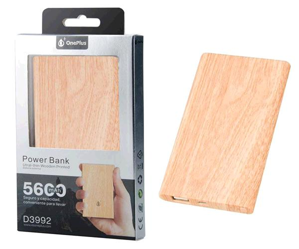 POWER BANK TREE D3992 5600MAH MADERA - SLIM - 5V 2.1A