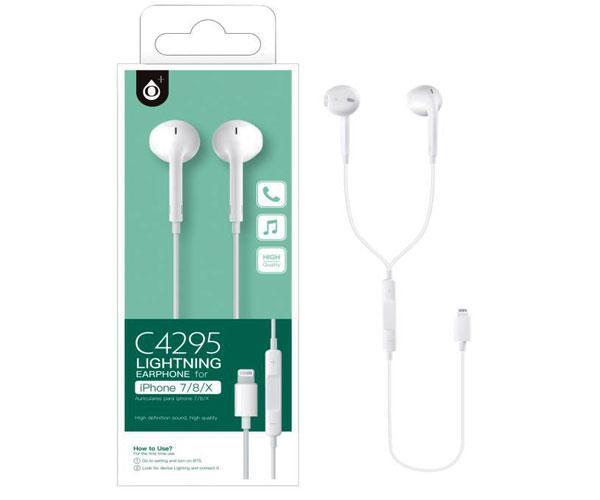Auriculares + Micro aurora c4295 iPhone 7-8-x conexion lightning - 1.2m - blanco