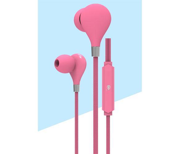 Auriculares con Micro intrauditivos C5855 Basic Carey - Boton control - 1.2m - Rosa