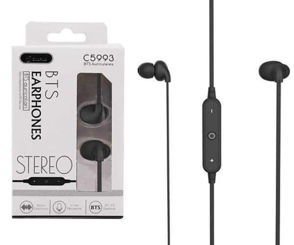 Auriculares Bronzor C5993 - Bluetooth 5.0 - Rellamada - Negro - One+