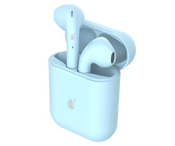Auriculares estereo Bluetooth 5.0 Roulis Nc3161 - Celeste - tws - Boton tactil - con base de carga - ONE+