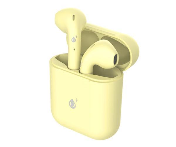 Auriculares estereo Bluetooth 5.0 Roulis Nc3161 - Amarillo - tws - Boton tactil - con base de carga - ONE+