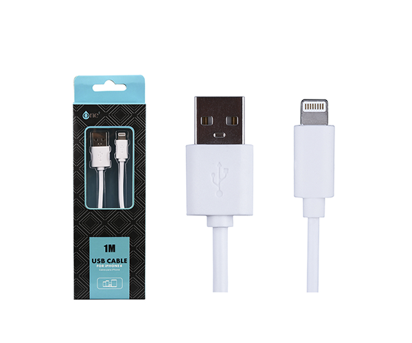 Cable datos iPhone 5-6-7 alta calidad 1m ONE+ aa101 blanco