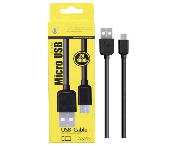 Cable datos USB a  Micro USB - 2a - 1m - as115 - Negro - ONE+
