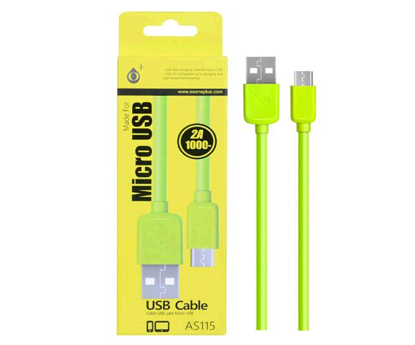 Cable datos USB a  Micro USB - 2a - 1m - as115 - Verde - ONE+