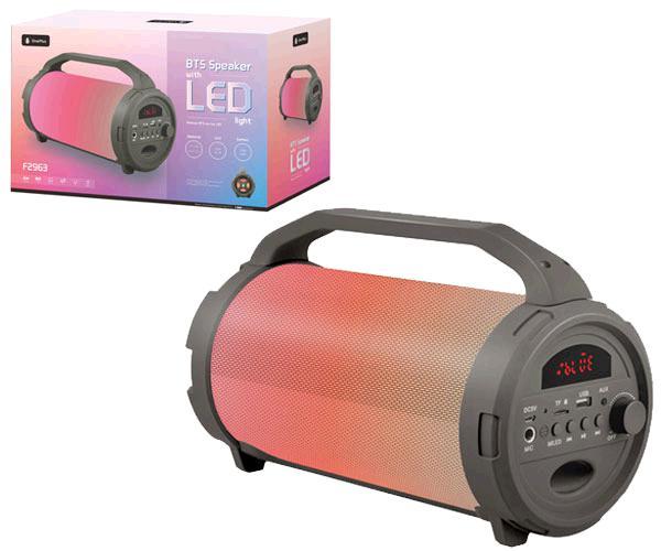 Altavoz tubo rainbow f2963 luz LED - Bluetooth - FM - USB - sd 10w gris ONE+