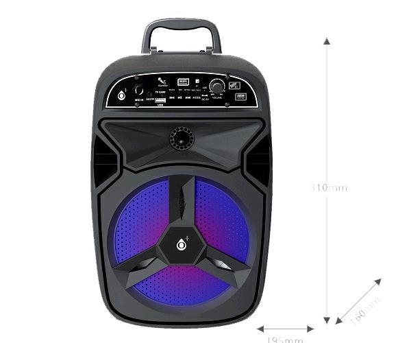 Altavoz karaoke Bluetooth odin f6297 8W  FM-USB-aux-micro sd  negro