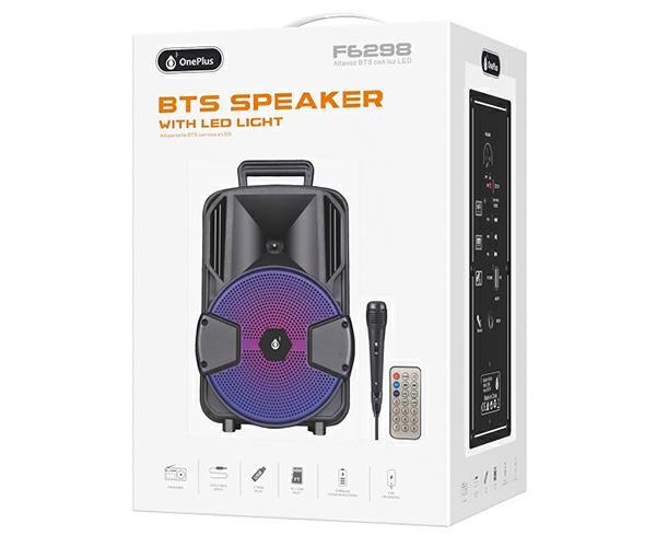 Altavoz karaoke Bluetooth Loki f6298 12W  FM-USB-aux-micro sd  negro incluye microfono