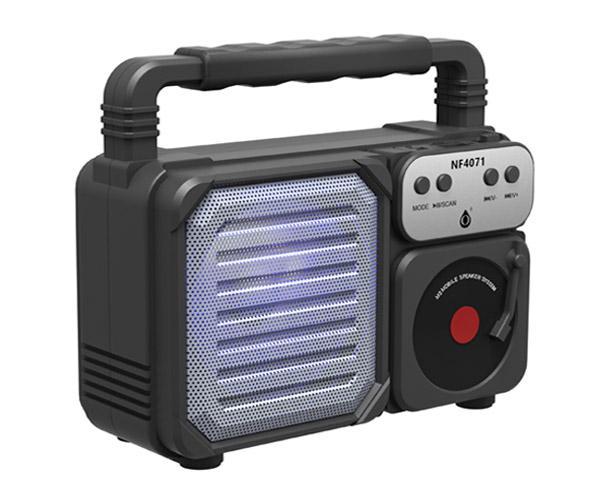 Altavoz Retro Bluetooth 5.0  Nf4071 Negro - Luz Led - 6w - Tws - Fm - Microsd - Usb - One+