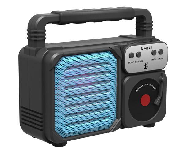 Altavoz Retro Bluetooth 5.0  Nf4071 Azul - Luz Led - 6w - Tws - Fm - Microsd - Usb - One+