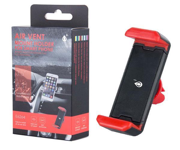 Soporte coche rejilla burg smartphone e6264 ONE+ rojo