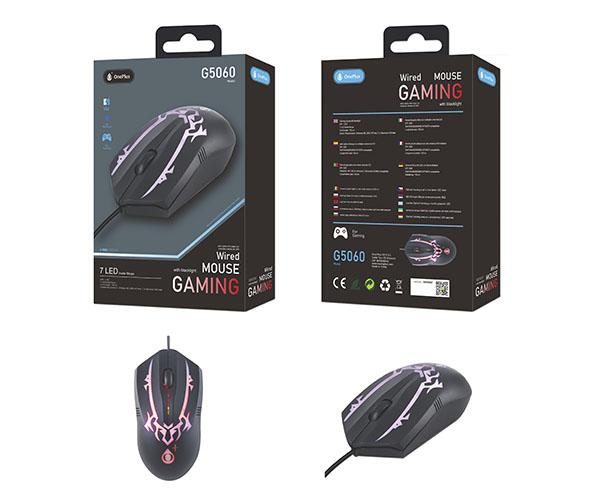 Ratón gaming G5060 Blacklight 1200 DPI - 7 LED - USB Negro - One+