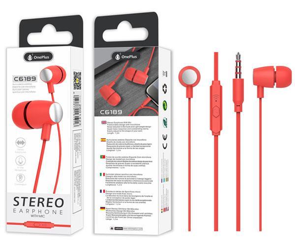 Auriculares con Microfono C6189 - Jack 3.5mm - 1.2m - Rojo