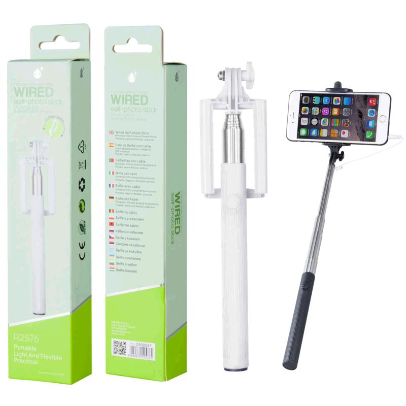 BASTON SELFIE UNIVERSAL CON CABLE R2576 BLANCO  ONE+
