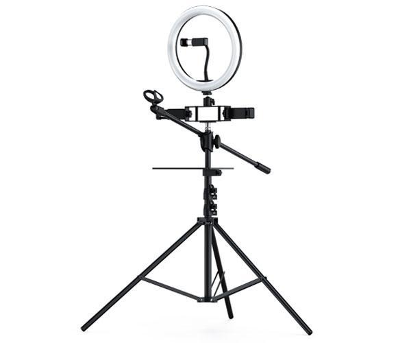 Anillo de Luz LED 26cm + Tripode Con 3 Soportes Smartphones + 1 Microfono Nr9103 - 3 modos de luz - 26w - Negro