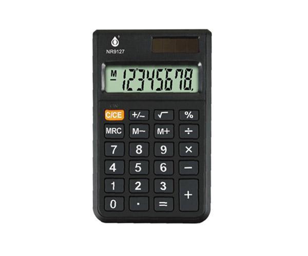 Calculadora de 8 Digitos - Nr9127 - Pantalla Lcd - Energia Solar y Bateria 1.5v - Negro - One+