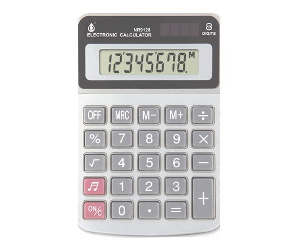 Calculadora de 8 Digitos - Nr9128 - Pantalla Lcd - Energia Solar y Bateria 1.5v - Plata - One+