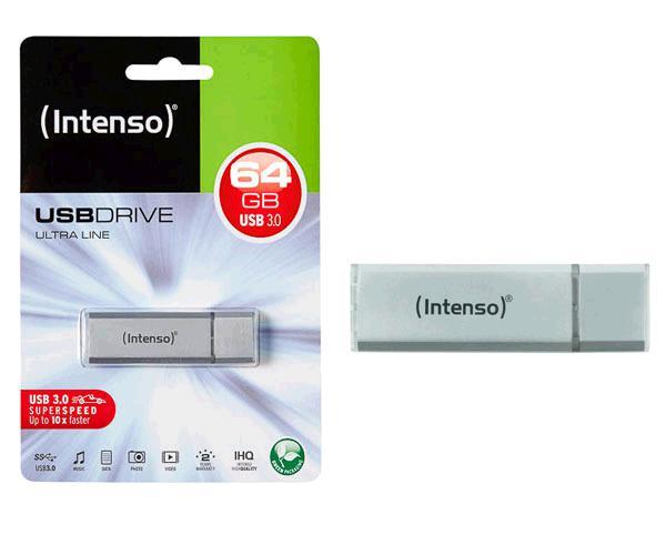 PENDRIVE INTENSO ULTRA LINE 64GB USB 3.0 PLATA ALUMINIO