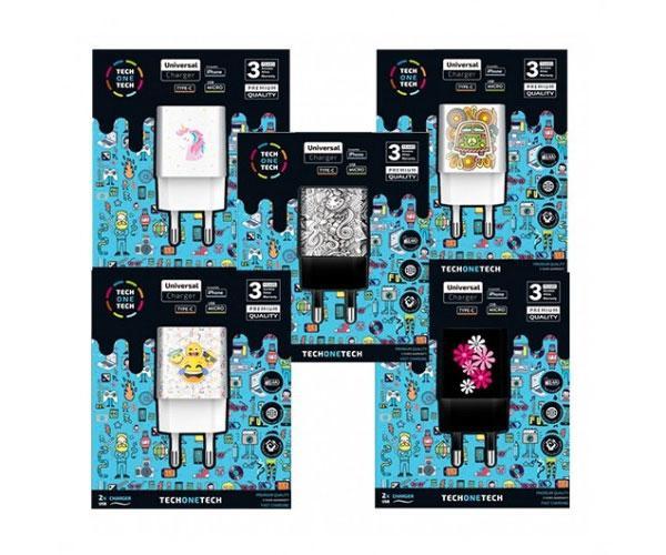 Cargadores Animados Be Original - Pack 5 uds - 2xUsb - 2.4a - 12w - Carga Rapida