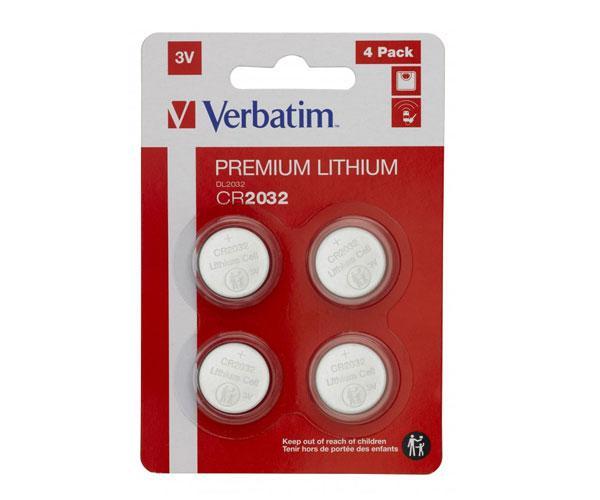Pila boton Litio Verbatim para placa base Cr2032   pack 4 unid.