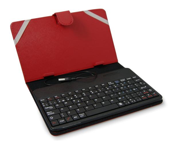 Funda universal tablet 6-7 pulgadas con teclado Bluetooth roja