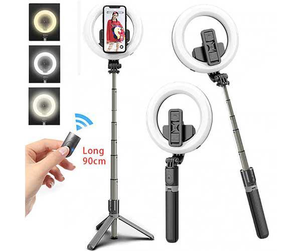 Palo con tripode para selfie con anillo de led L07