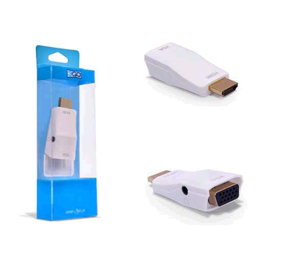 ADAPTADOR HDMI A VGA + AUDIO BLANCO 3GO - A127