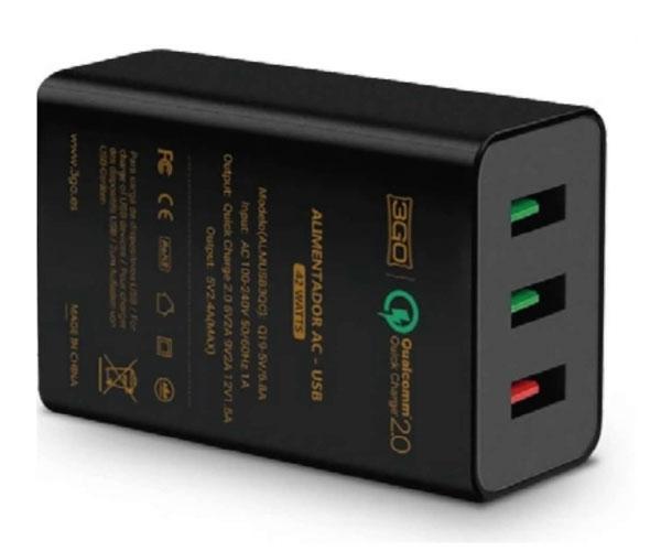 Cargador Red Qualcomm Qc 2.0 Usb + 2 Usb - 18w - Negro - 3Go - Almusb3qc