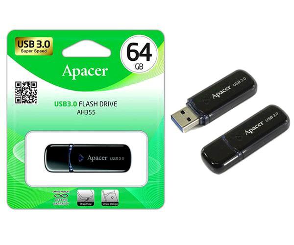 Pendrive Apacer Ah355 64Gb USB 3.0 Negro