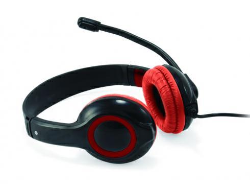 Auriculares con Microfono Conceptronic USB - control de volumen - negro-rojo