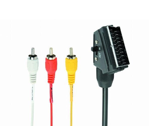 Cable euroconector Scart a 3 Rca Bidireccional - Cablexpert Ccv-519-001