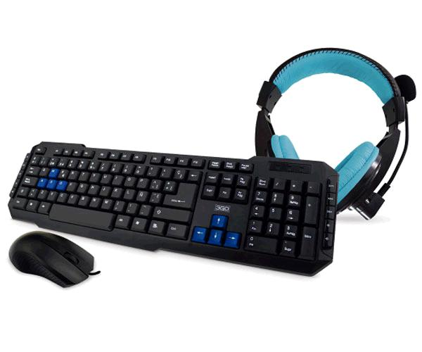 COMBO TECLADO + RATON CABLE USB + AURICULARES DRILE NEGRO 3GO MULTIMEDIA