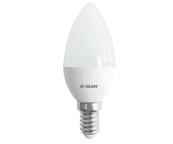 Bombilla LED Roblan e14 vela - 5w - calido - 3000k - 396lm - 175-250v