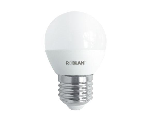 Bombilla LED Roblan e27 esferica - 5w - luz dia - 6500k - 400lm - 175-250v