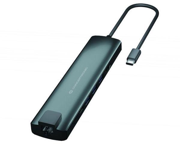 Adaptador Usb-C 9 en 1 Conceptronic Doon06 - Hdmi - Usb-c Pd - Usb 3.0 - Rj45 - Sd - MicroSd